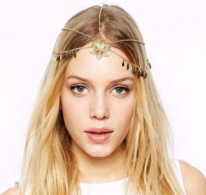 Wholesale tassel headbands for women resale online - Flower Leaf Tassel Forhead Band Chain For Women Bohemian National Style Metal Head Chain Gold Tone Headband Chain Forehead Dance Headbands
