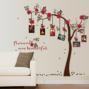 Wholesale Picture Frame Flowers Tree Wall Stickers Memory Tree Living Room Wallpaper Poster DIY Home Decoration Flower Family Tree Wall Graphic Mural