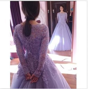 Wholesale floor carpets online resale online - 2018 Lavender A Line Evening Dresses Applique Lace Tulle Scoop Long Sleeves Floor Length Formal Prom Gowns Online Sale