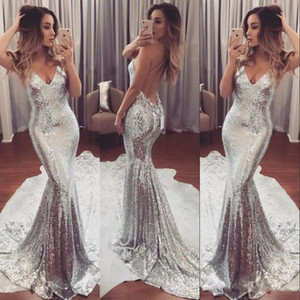 Luxury Sexy Sparkling Prom Dress Backless Silver Deep V-Neck Open Back Sweep Train Formal Party Dresses Modern Women Evening Gowns on Sale
