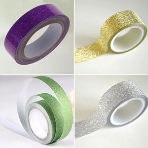 Wholesale Adhesive Paper Sticker m Roll Craft Glitter Washi Tape Book Decor E00020 BARD