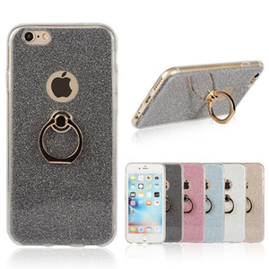 Wholesale New Protection Shell Holder Cover Glitter Phone Finger Ring Buckle Bracket Kickstand Shield Case For iPhone s plus