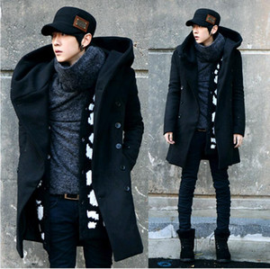 2017 Fashion Winter Mens Pea Coat With Hood Double Breasted Long Wool Trench Coat Men Overcoat Grey Black Plus Size M-3XL