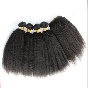 Wholesale Hot Selling Kinky Straight Hair Bundles With Lace Closure x4 Coarse Yaki Top Lace Closure With Hair Extensions For Black Woman