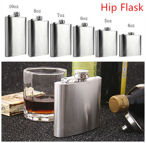 Wholesale Fashion Hip Flask Sizes oz oz Stainless Steel Pocket Retro Whiskey Flask Wine Bottle Liquor Screw Cap With Funnel