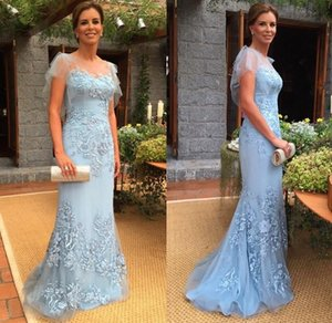 Hot Sale Blue Mother of The Bride Dresses Sexy Mermaid Long Evening Gowns Sheer Jewel with Lace Appliques and Beading Handmade Dresses on Sale