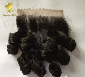 10-16inch Brazilian Human Hair Egg Curl Lace Closure Bleached Knots 4x4 Bouncy Curly Closure bleached Knots