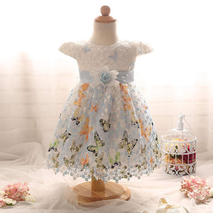 Wholesale butterfly hook flower baby girl princess skirt chiffon lace yarn skirt infant dress children dress infant toddler wedding dress boutiques