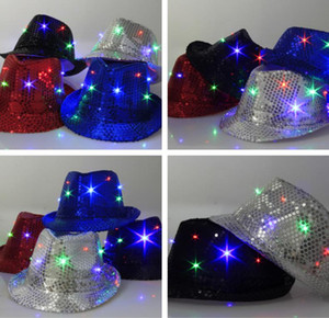 Wholesale 9 Colors LED Jazz Hats Flashing Light Up Led Fedora Trilby Sequins Caps Fancy Dress Dance Party Hats Unisex Hip Hop Lamp Luminous Hat