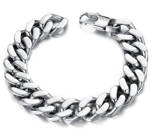 Wholesale 10 mm Curb Cuban Stainless Steel Bracelet Mens Chain Clasp Link Bracelets Silver Tone Jewelry Gift Promotion Mixe