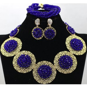 Wholesale Top Grade k gold plated royal blue Jewelry Sets New Fashion Hot Sale Shambhala bracelet Earrings Pendants Necklaces Set for Women Gift