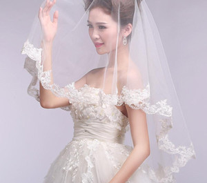 Wholesale New White or Ivory VEIL M Cheap Short Wedding Veils with Lace Edge White Tulle Real Sample Bridal Veils For Wedding Dresses