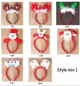 Wholesale Plastic Headbands For Home Party Christmas Tree Holders Room Store Shop Festival Santa Claus Toppers Decoration Kids Gift