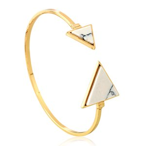 Wholesale European Geometric Turquoise Bracelet K Gold Plated Alloy Bangle Women Triangle Stone Open Bangle Girls Brief Black White Stone Bangles