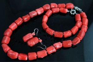 Wholesale Natural Red Coral Bead Cylinder Choker Necklace Bracelet Earring Jewelry set