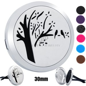 Wholesale New Arrival Silver Tree and Bird mm Magnet Diffuser Stainless Steel Car Aroma Lockets Essential Oil Car Air Fresher Lockets