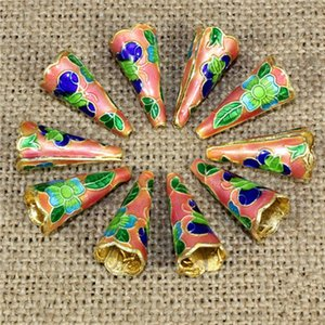Wholesale Horns Shape Cloisonne Beads Multi Colors Filigree Silver Blue Spacer Loose Beads For DIY Jewelry Bracelet Crafts Charms Cloisonne Beads