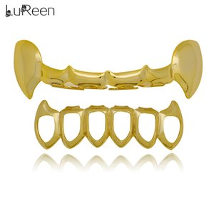Wholesale LuReen Color Vampire Fangs Open Face Outline Grillz Teeth Top and Bottom Set Caps Punk Halloween Hip Hop Grillz