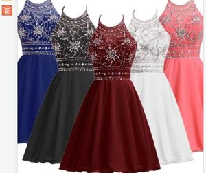 Wholesale Cheap Black Burgundy Coral Blue Party Homecoming Dresses A-Line Halter Beaded Crystal Chiffon Short Mini Prom Formal Gowns Celebrity