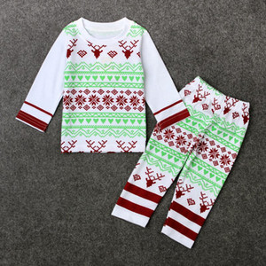 Wholesale 2017 New Boys Girls Christmas Deer outfit Santa outfit Long sleeves t shirt pants legging Party set Baby INS Christmas Cosplay