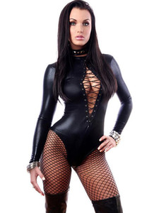 High Quality Long Sleeve Sexy Black Latex Faux Leather Bodysuit Woman Erotic Zentai Catsuit Fetish Wear W850842