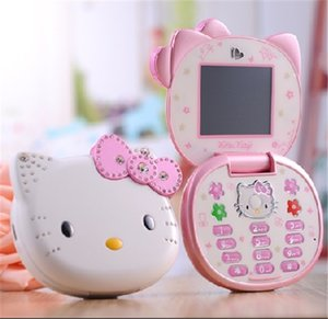 Wholesale New Unlocked Original Newest T99 Hellokitty Cartoon Mobile phone for kids children Dual SIM standby Flip Fashion Russian cellphone