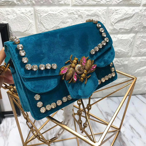 Wholesale Broadway velvet bag women Genuine Leather handbags mini chain shoulder bags diamond rivet crossbody bag bee peal interlocking bags