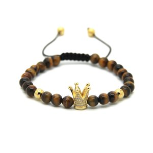 Wholesale 6mm Natural Tiger Eye Grey Jasper Bronzite Blue Veins Stone Beads Gold And Silver Plated Crown Braided CZ Bracelet