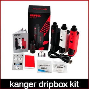 Wholesale High Quality Kanger Dripbox Kit with KangerTech Subdrip Tank Dripmod Box Mod Wide Bore Drip Tip Black White Red Color freeshipping