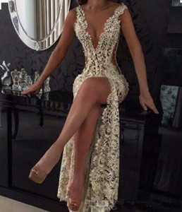 Champagne Sexy 2018 Plunging V Neck Tight -High Split Evening Dresses Full Lace Side Cutaway Backless Prom Dresses With Beading
