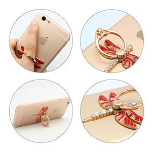 Wholesale 2017 Universal Degree Dragonfly Crystal Finger Ring Holder Phone Stand Phone Holder For Samsung Huawei Mobile Phones