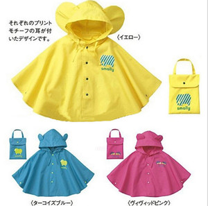 Wholesale New style smally children raincoats with big ears ellow,rose red and blue Cape raincoat