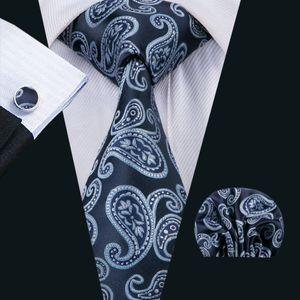 Classic Silk Men Ties Blue Mens Neckties Paisley Tie SetsTie Hanky Cufflinks Sets Jacquard Woven Meeting Business Wedding Party N-1526