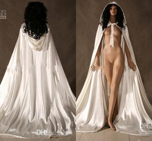 Custom New Cheap Romantic Cheap Hooded Bridal Cape Ivory White Long Wedding Cloaks With Satin Wedding Bridal Wraps Formal Bridal Cloak