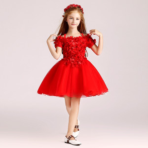 Wholesale 2017 Red Knee Length Flower Girls Dresses Ball Gown Organza with Applique Hand Made Flowers Cheap girls Pageant Dress Cheap Red,White,Black