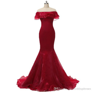 2019 Sexy Red Bateau Mermaid Formal Evening Dresses With Ruffles Organza Floor-Length Plus Size Prom Party Celebrity Gowns on Sale