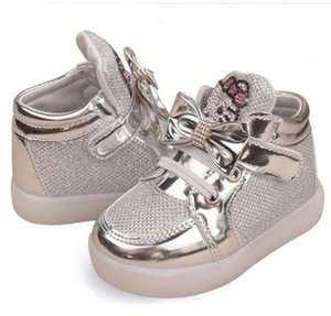 Children Cartoon KT LED shoes 2017 New Spring Kids breathable shoes girls flashing LED fashion glowing casual shoes 21~30 on Sale