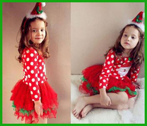 Wholesale factory cheap price children vestidos white dot green bow Baby Girls Kids Xmas Clothing Christmas Party Red Santa Long Sleeve Tutu Dresse