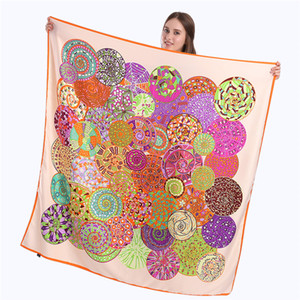 New Twill Silk Scarf Women Paisley Printing Square Scarves Fashion Wrap Female Foulard Large Hijab Shawl Neckerchief Bandana 130*130CM