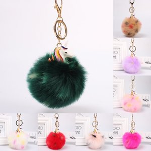 Wholesale Anime Lovely Fluffy Unicorn Pony Keychain Pendant Accessories Women Car Fluffy Fur Pompom Keyring Bag Hang Trinkets D325Q