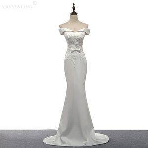 Wholesale Evening Dresses Sexy Bateau Neck Illusion Lace Appliques Crystal Beaded White Mermaid Off Shoulder Formal Party Dress Prom Gowns