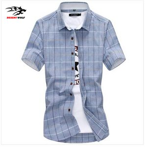 Wholesale Wholesale-2016 new men's fashion trend of urban tide Korean version of casual youth multicolor plaid shirt plus size code M-5XL