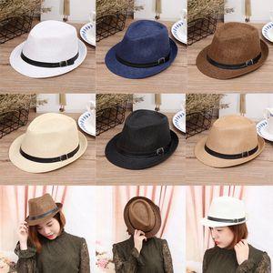 1ec3fccab2ca3 Spring Summer Men Women Chlidren Straw Hats Soft Fedora Panama Hats Outdoor Boys  Girls Kids Stingy Brim Jazz Caps Top Hats Belt Buckle GH-61