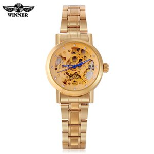 Wholesale ladies skeleton watches for sale - Group buy WINNER Ladies Classic Automatic Mechanical Watch Self Wind Carving Skeleton Roman Index Dial Full Steel Women Wrist Watches SLZb03