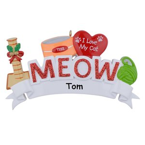 Wholesale Maxora MEOW WOOF I Love My Cat Dog Polyresin Personalized Pet Christmas Tree Ornaments For Holiday Keepsake Gift Home Party Cat Decoration
