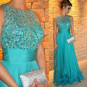 Wholesale 2020 New Elegant Hunter Green Chiffon Floor Length Prom Dresses Lace Beaded Top Long Formal Party Evening Dresses