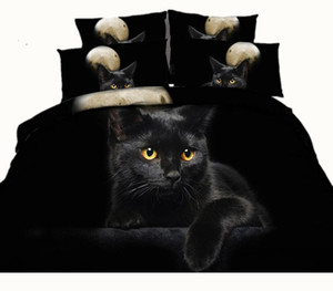 Moon Black Cat 3D Reactive Printed Bedding Sets Twin Full Queen King Size Bedspreads Bedclothes Duvet Covers Pillow Shams Comforter Animal