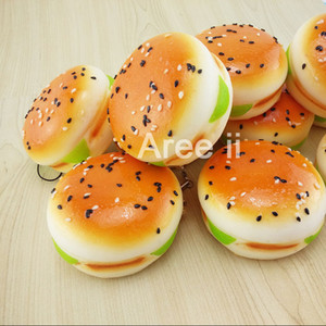 Wholesale CM Sesame Covered Squishy Hamburger Key Chains Soft Bread Scented Buns Cell Phone Straps