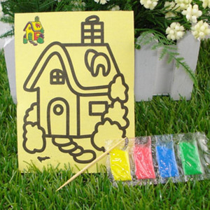 Wholesale DIY selling children's educational toys. Children sand painting trumpet yellow background. Sand painting sand painting 11 * 8 on Sale