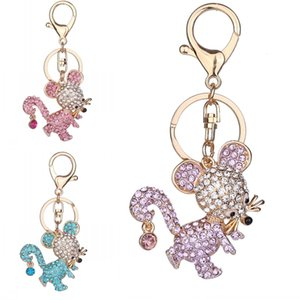 Wholesale Fashion Cute Key Ring Mouse Key Chain Unique Gifts Women Bag Decorate Alloy Rhinestone Keychain Styles Support FBA Drop Shipping D324Q